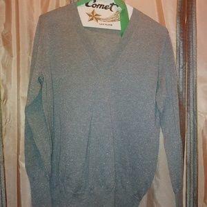 Metallic Silver Gray Sweater